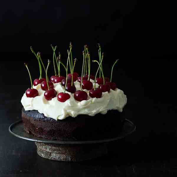 Chocolate cherry Guinness cake