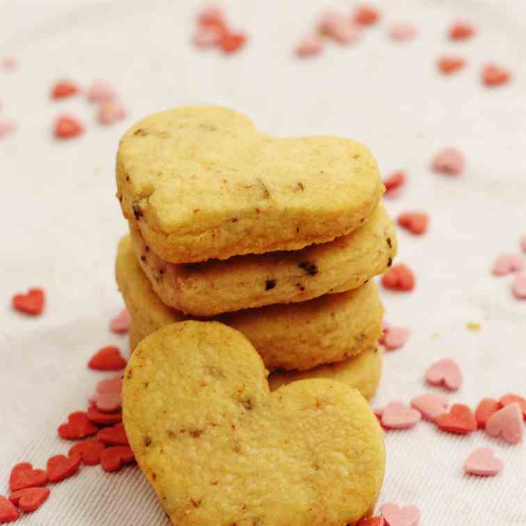 Strawberry Heart Shortbread Biscuits