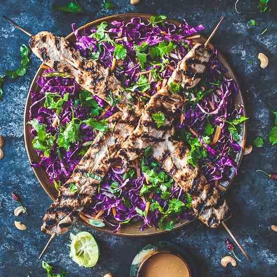 Grilled Turkey Skewers w Asian Slaw