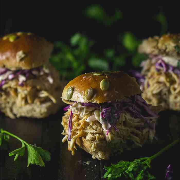 Red Thai Pulled Chicken Sliders