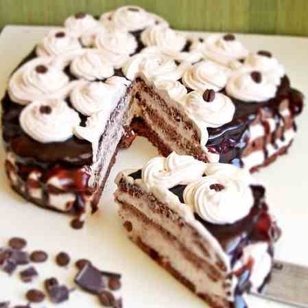 Caramel and chocolate cake