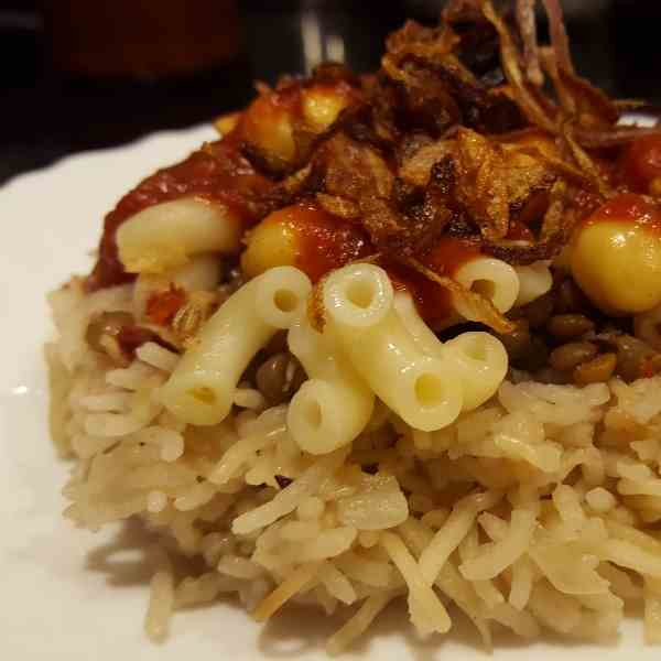koshari - the vegan national dish of Egypt