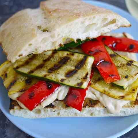 Grilled Vegetable and Hummus Sandwich