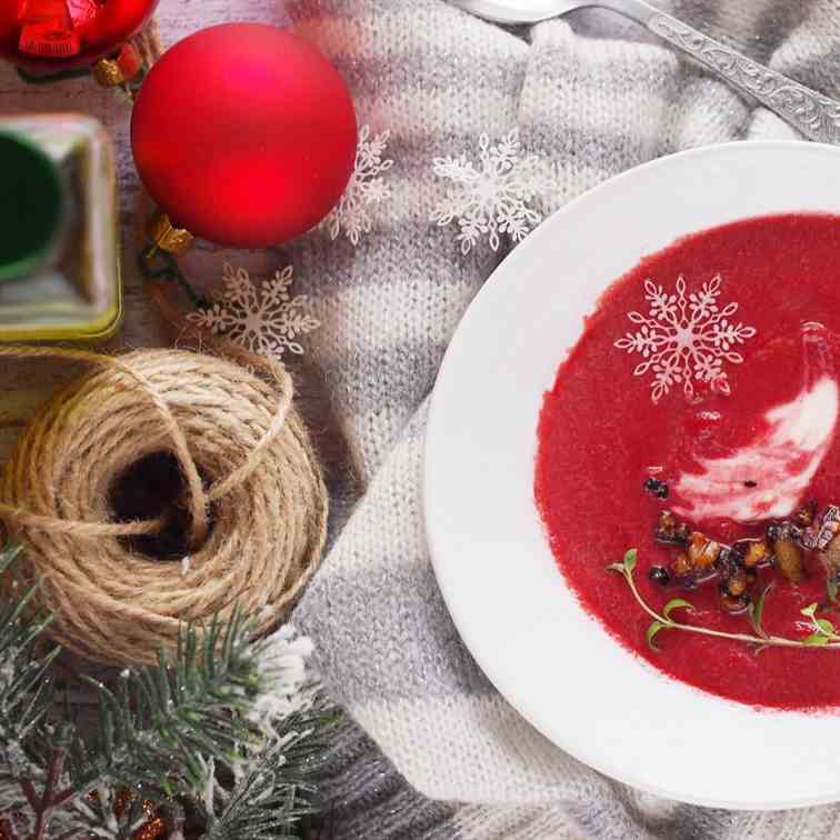 Cream of roasted beet soup