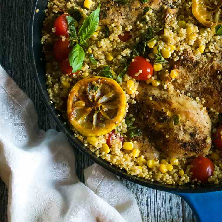 One-Pan Lemony Herbed Chicken and Quinoa