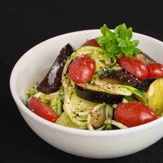 Aubergine, Tomato And Zoodles Winter Salad