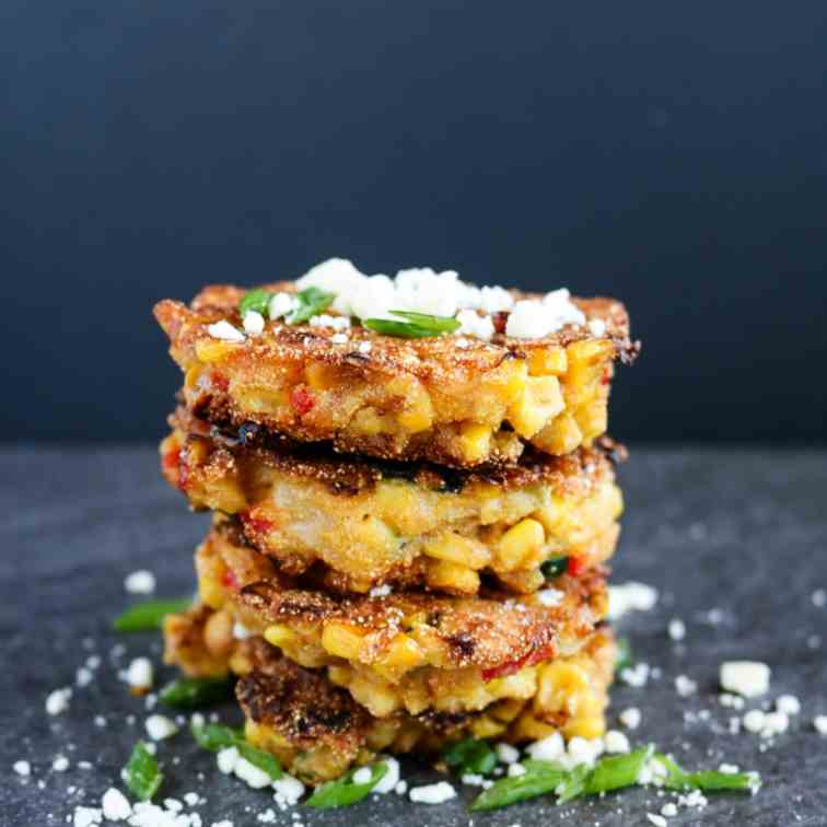 Corn, Zucchini - Red Pepper Cakes