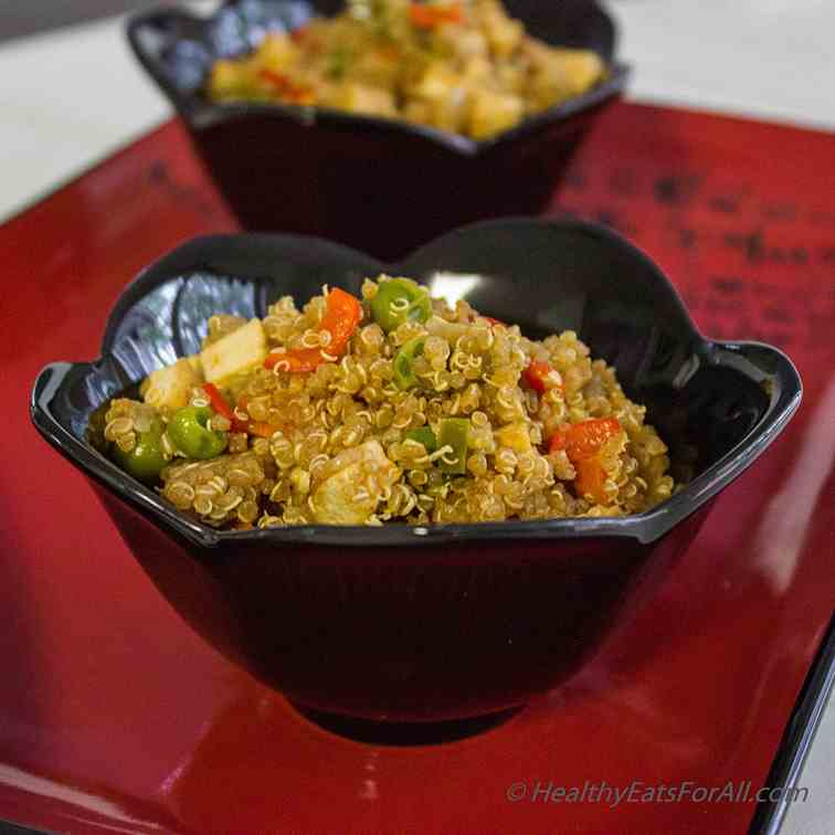 Vegan Quinoa Tofu Fried Rice