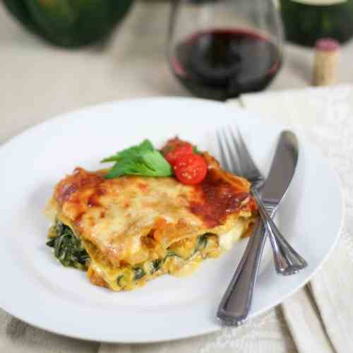 Buttercup Squash, Feta and Spinach Lasagna
