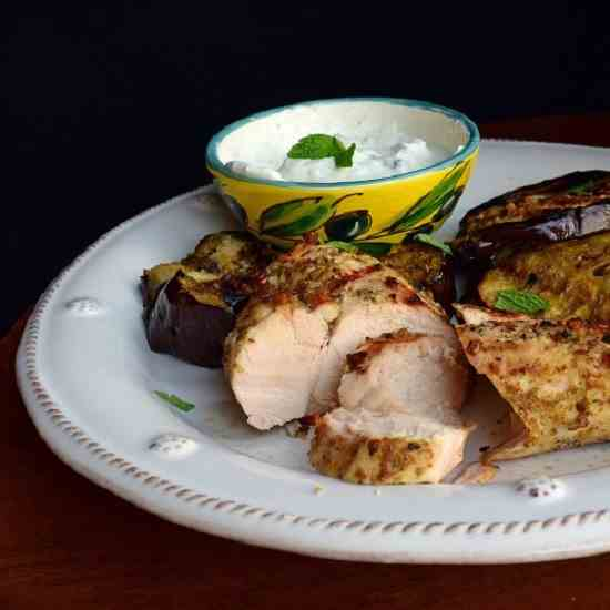 Grilled Za'atar Chicken and Eggplant