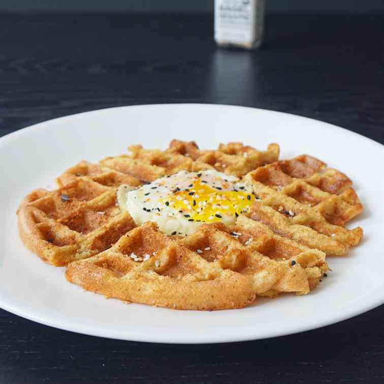 Egg in a waffle hole