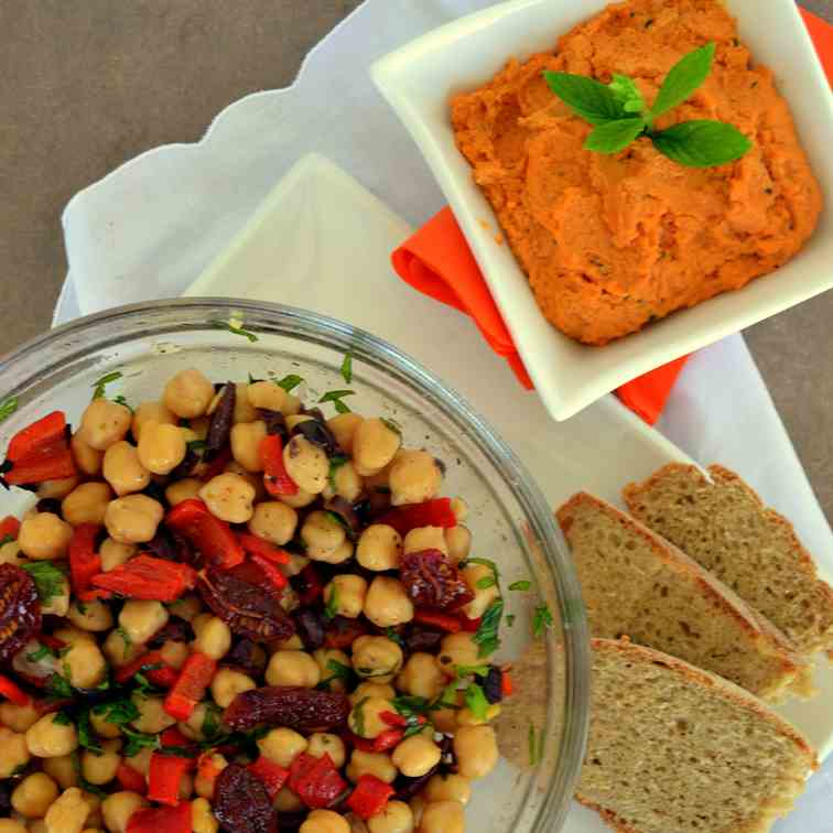 Refreshing chickpea salad with red peppers
