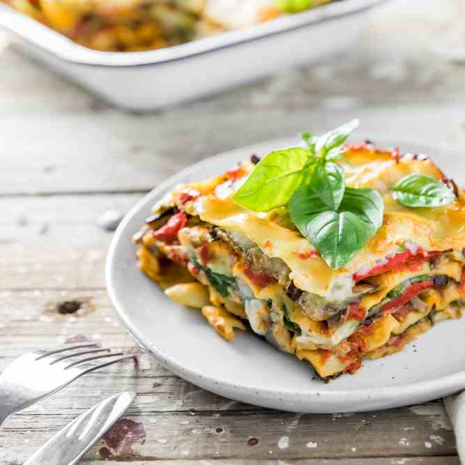Vegan Lasagna with Cauliflower Bechamel