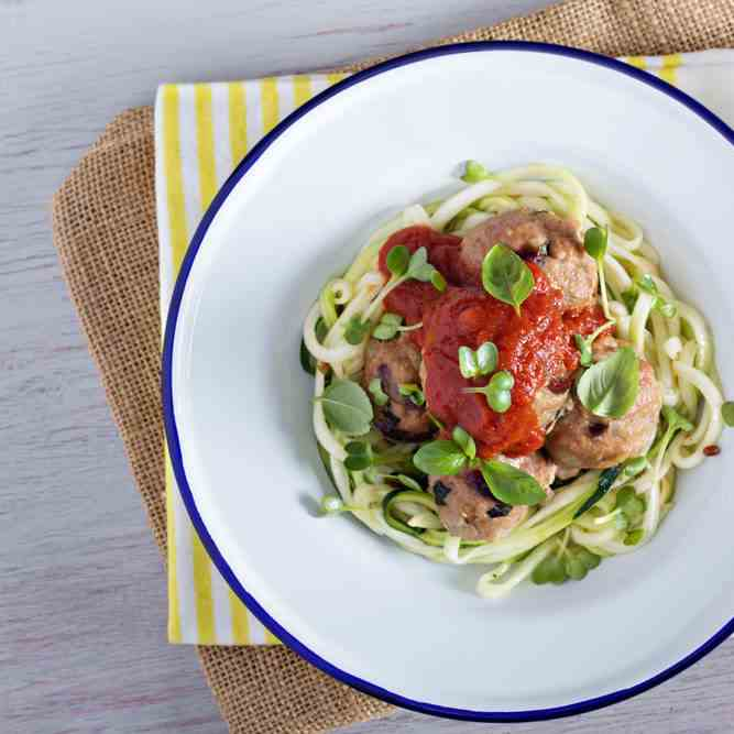 Carb Free Spaghetti Zoodles With Meatballs