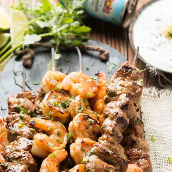 spicy steak and shrimp kabobs