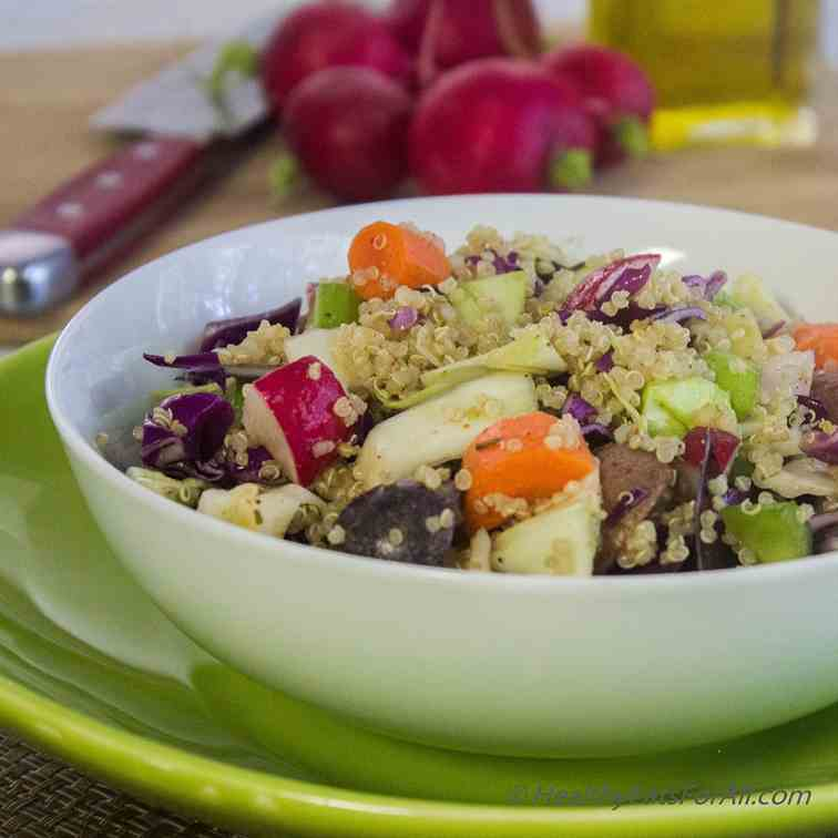 Warm Potato, Quinoa and Cabbage salad