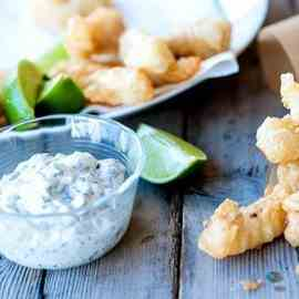 Fish fingers in lemonade batter