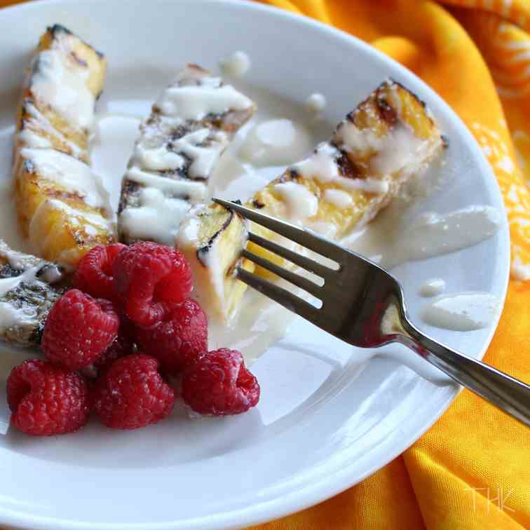 Grilled Fruit with Almond-Ricotta Sauce