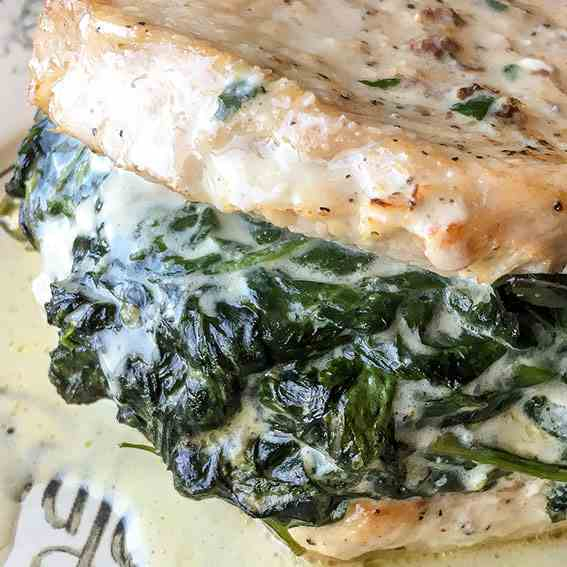 Creamed Spinach Stuffed Pork Chops