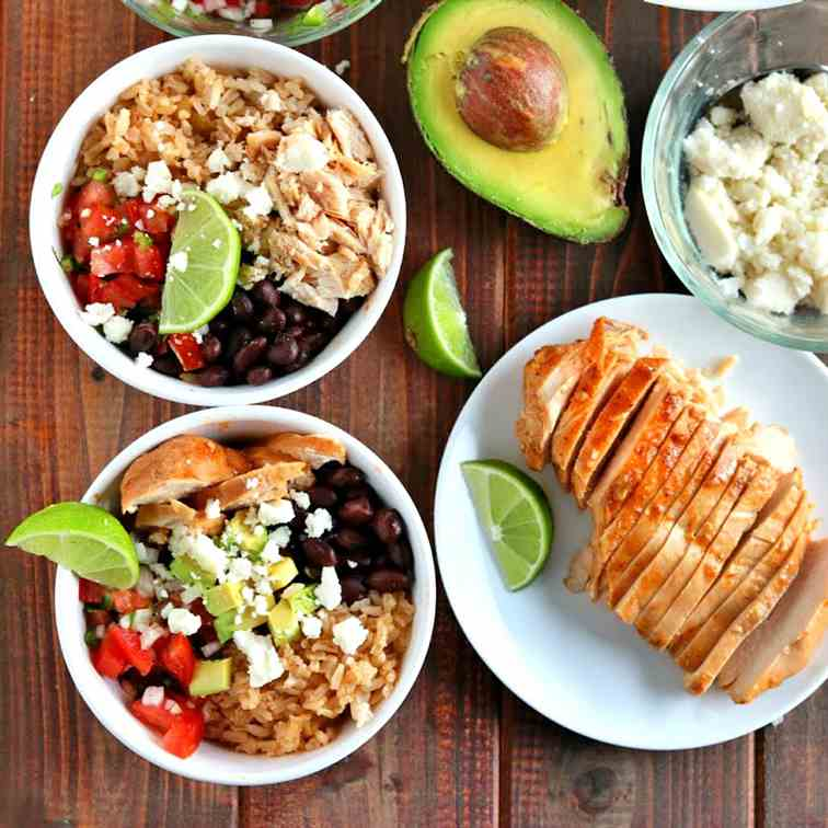 Slow Cooked Fiesta Chicken - Rice Bowls
