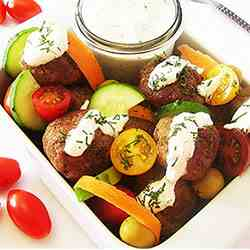 Meatball and Vegetable Salad with Sour Cre