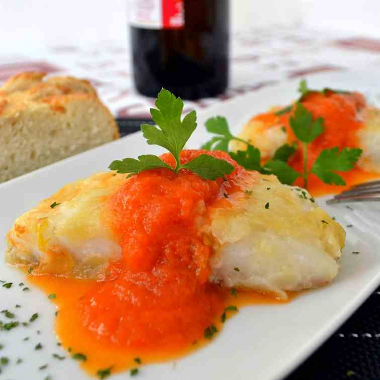 Cod fish with tomato sauce