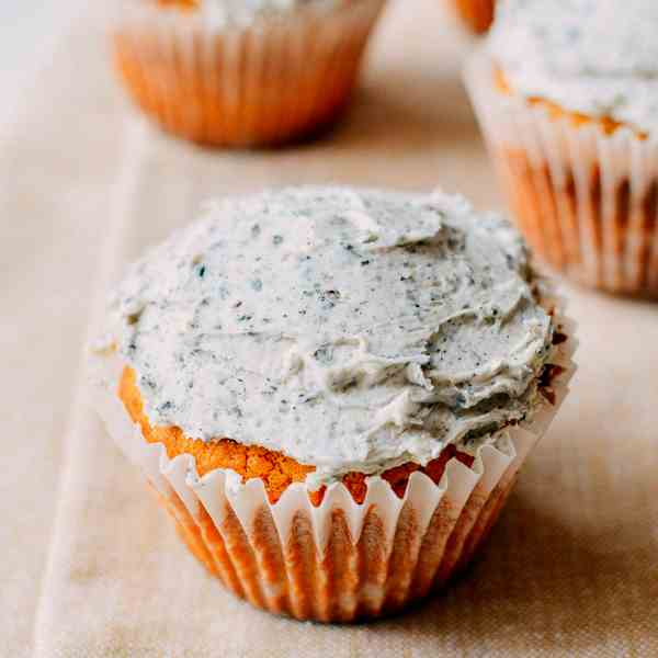 Peanut Butter Cupcakes with Black Sesame