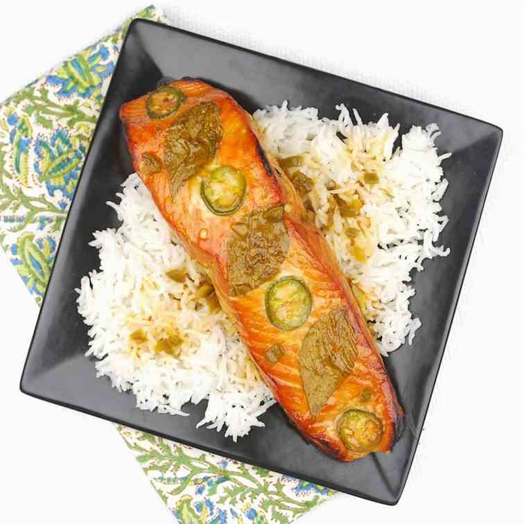 Pineapple-Jalapeno Plank-Grilled Salmon