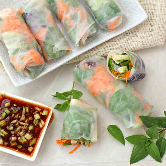 Vegetable Summer Rolls with Spicy Dipping