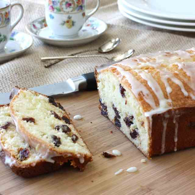 Glazed Lemon & Dried Cherry Quick Bread