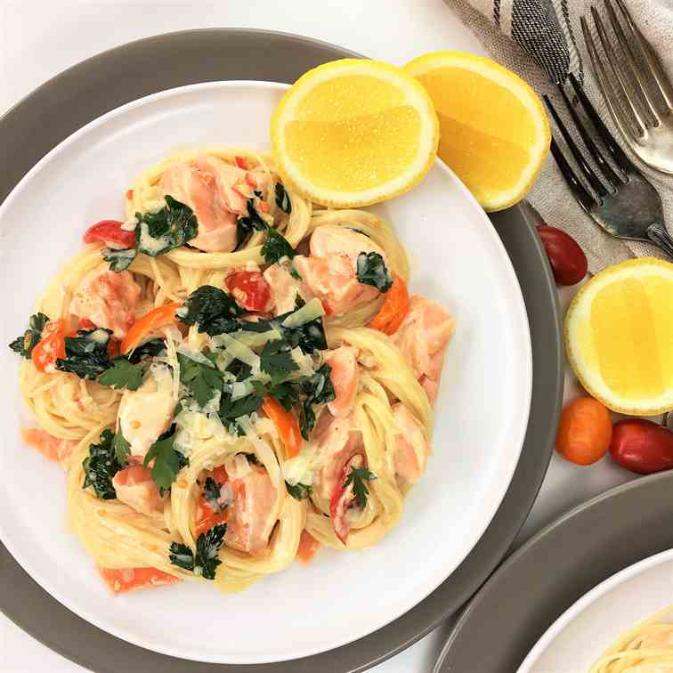 Lemon Parsley Salmon Pasta