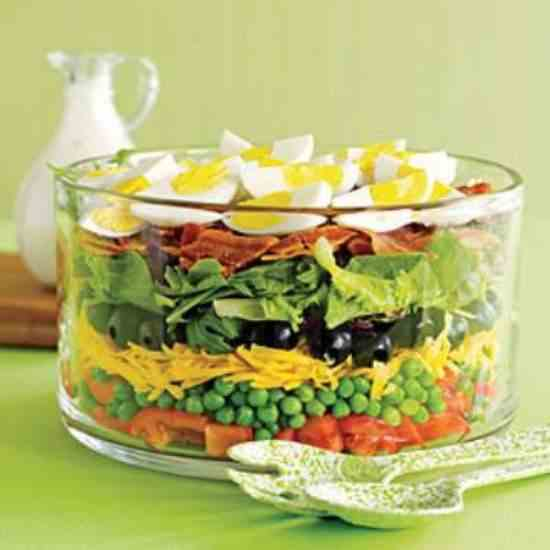 7 Layer Salad with Ranch Dressing
