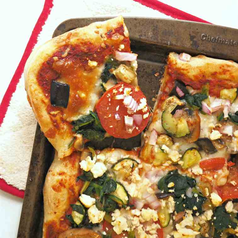 Veggie Pizza with Roasted Red Pepper Sauce