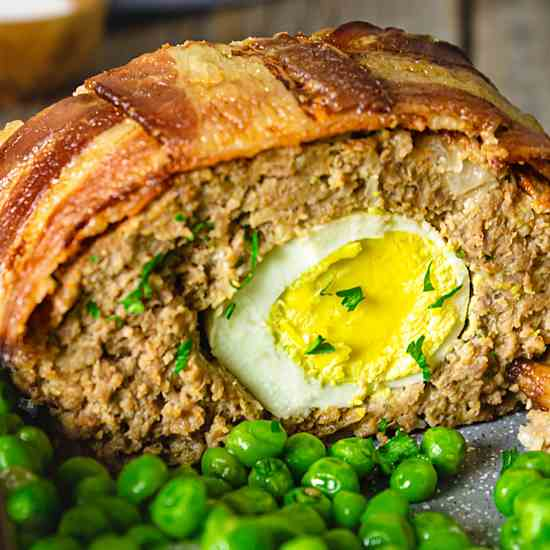 Meatloaf with Hard-Boiled Eggs and Bacon