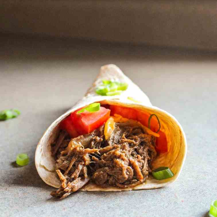 Shredded Slow Cooker Beef Fajitas