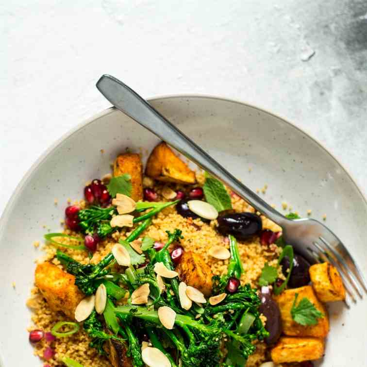 Vegan couscous salad with roasted parsnips