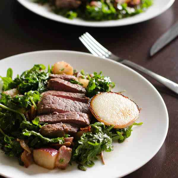 Steak Salad with Coconut Pan-Fried Peaches