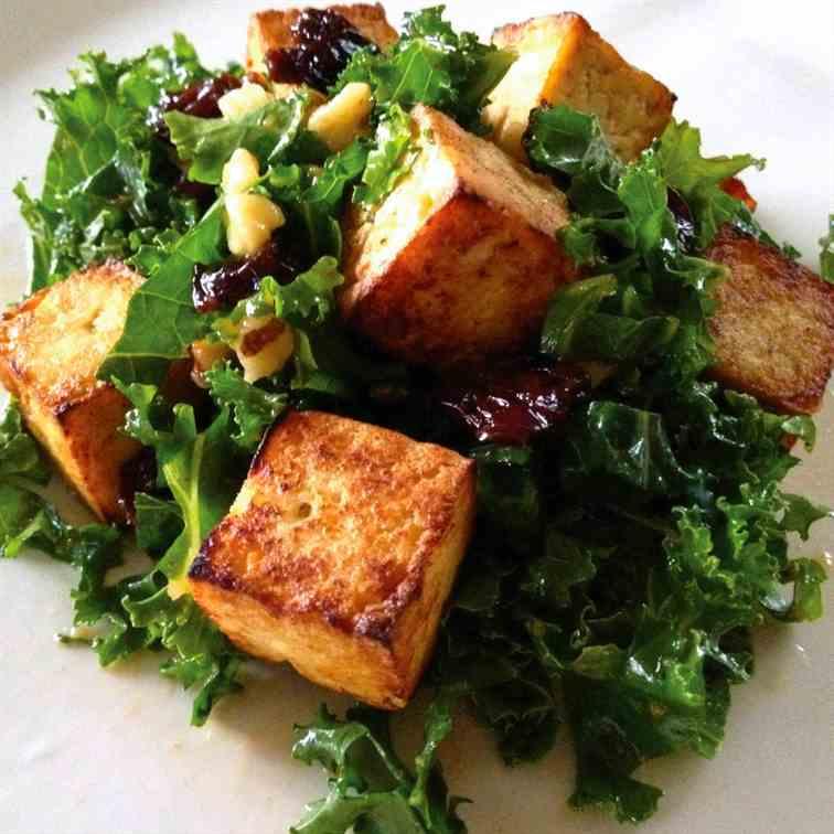 Kale Salad with Cherries, Walnuts and Tofu