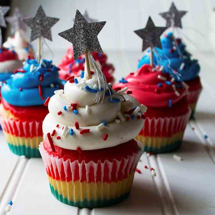 Red White - Blue Cupcakes