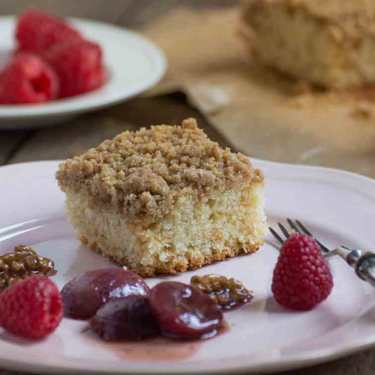 Crumb Cake with Grape and Walnut Compote
