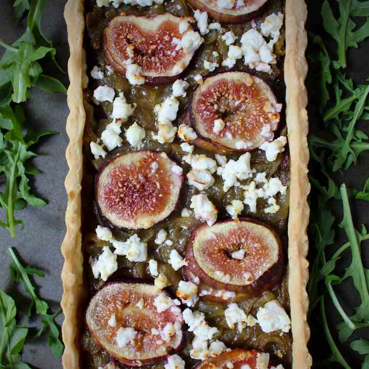Onion, Feta and Figs Savoury Tart