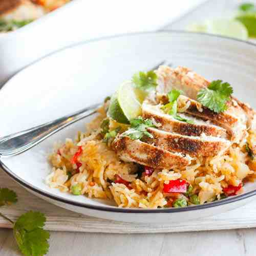 One Pan Thai Chicken - Rice Bake