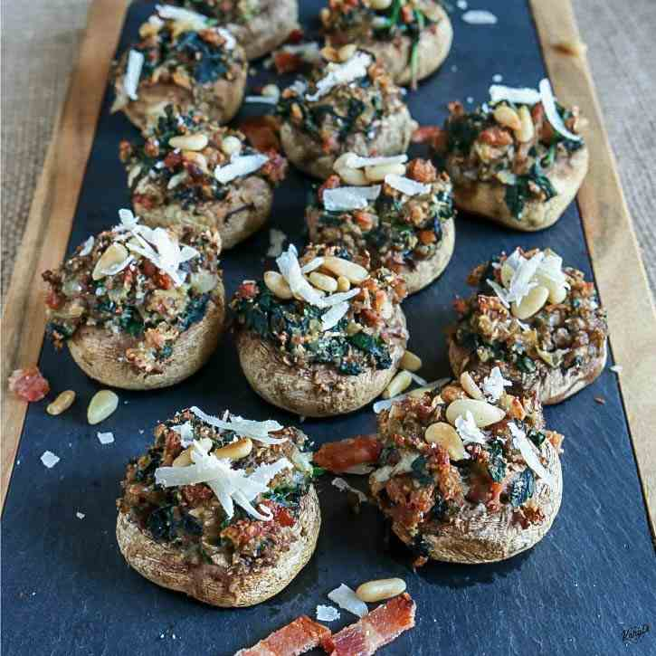 Spinach - Bacon Stuffed Mushrooms