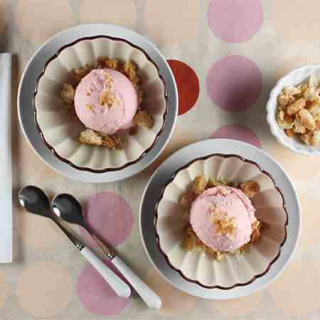 Rhubarb Ice Cream with Almond Topping