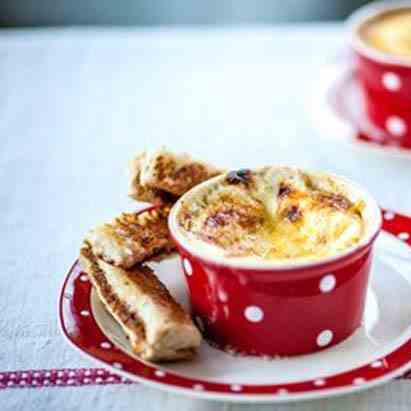 Cheesy egg with marmite soldiers