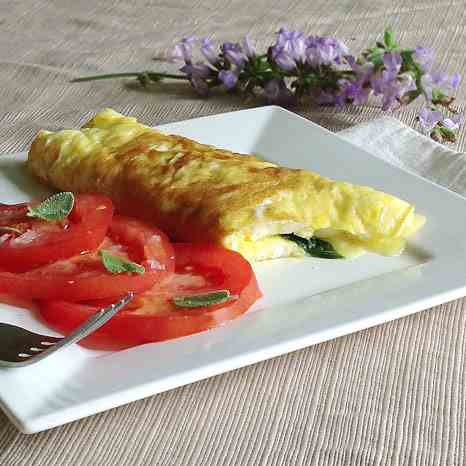 Omelet with Fried Sage and Gruyere