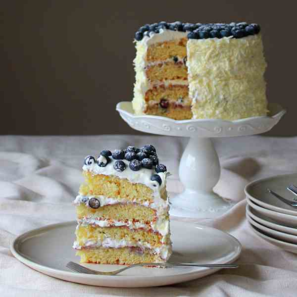 Lemon blueberry and cream cake