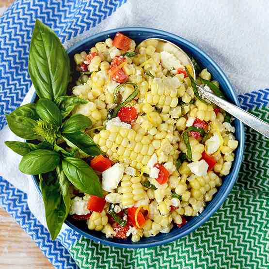 Corn Salad with Basil - Queso Fresco