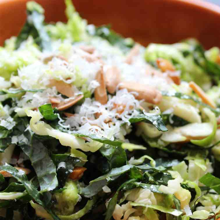 Shredded Kale and Brussels Sprout Salad