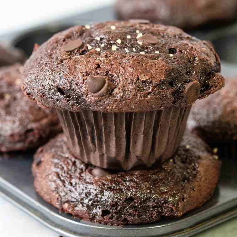 Fudgy Double Chocolate Muffins